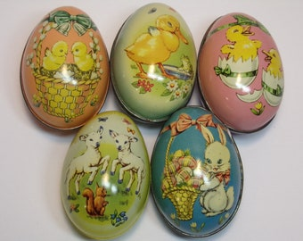 Vintage 1960's  Tin Litho Eggs  Set Of 5