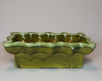 Vintage 1960's  Cookson Pottery Green Planter