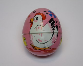 Vintage 1960's  HAJI  Tin Egg w/WInd Up Tin Chick Inside