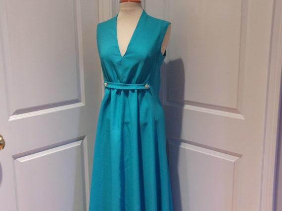 Vintage 1960's/1970's  Blue Sleeveless Maxi Dress - image 6