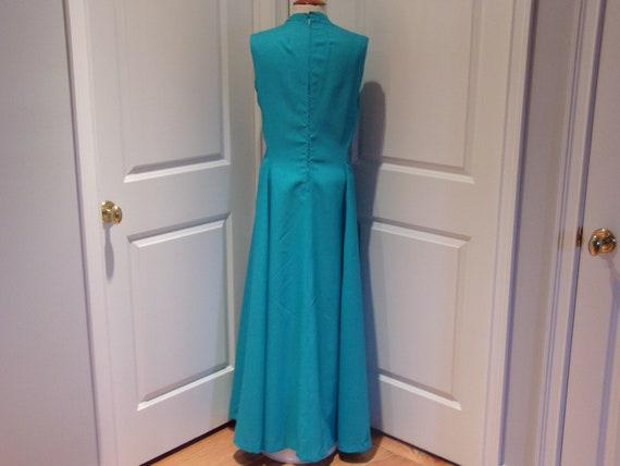 Vintage 1960's/1970's  Blue Sleeveless Maxi Dress - image 7