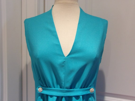 Vintage 1960's/1970's  Blue Sleeveless Maxi Dress - image 2