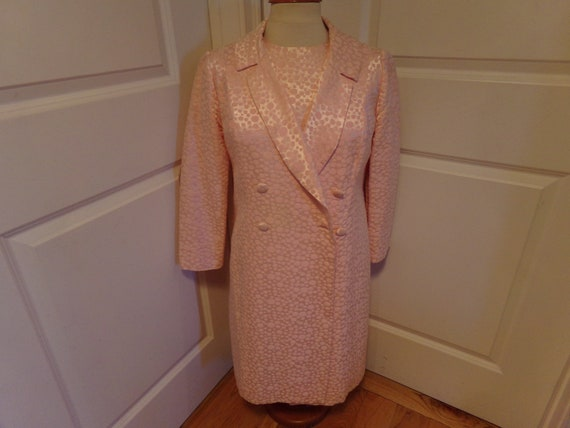 Vintage 1960's Pink Dress & Coat Set  2 Piece Set