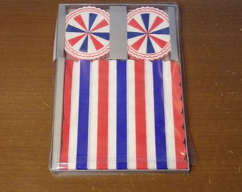 Vintage 1960's  Red, White & Blue Napkins And Coasters