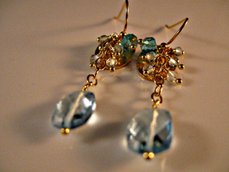 Blue Topaz Cluster earrings,gemstone earrings,dangle earrings,drop earrings,gold earrings,cluster earrings,blue topaz earrings,topaz
