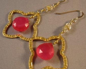 Hot Pink Chacledony earrings,Gold Hoop Earrings,gemstone earrings,drop earrings,chacledony earrings,gold earrings,dangle earrings,drop