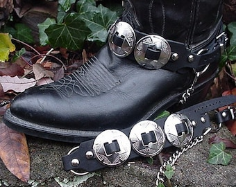 Western/Biker Boots BOOT CHAINS 3 Big SILVER Conchos