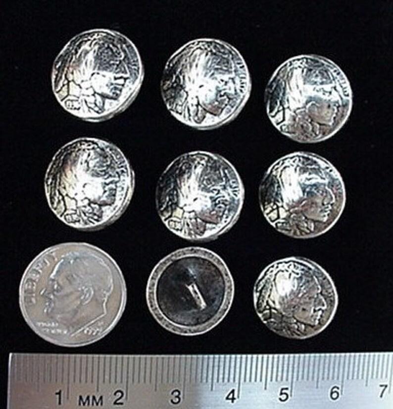 4c7d89de70e8d CONCHOS Indian Head Nickel Buttons 15MM 9 16 8 pcs