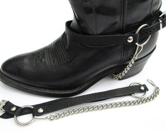 Western Boots Boot Chains Black Leather Harness Straps