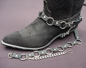Western/Biker BOOT CHAINS METAL Ring, Black Leather