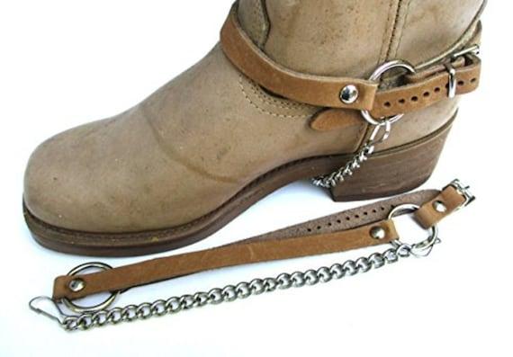 Bottes Western botte chaînes sangles du harnais en cuir marron clair