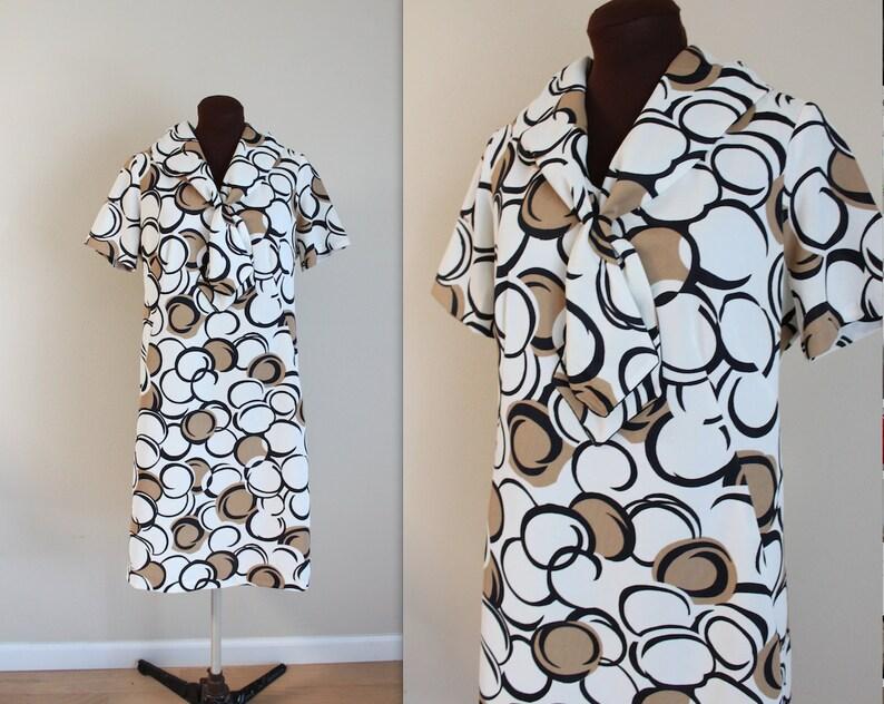 1960s Dress / Sailor Dress / Geometric Print l-xl image 0
