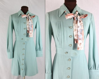 1970's Baby Blue Wool Lanz Scooter Dress - S
