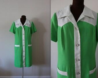 1960s Shirt Dress / Shift Dress / Green Dress (xl)