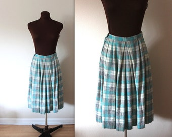 1950s Skirt / Plaid Skirt / Pastel Skirt (s-m)