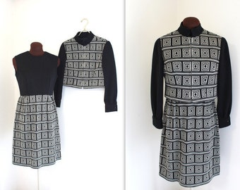 60s Scooter Dress / 1960s Suit / Mod Dress and Coat (m)