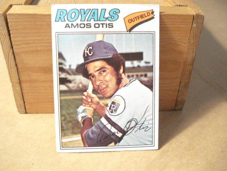 Amos Otis Royals Kc Royals Baseball Card Mlb Card Royals Card Sports Gift Idea Baseball 1977 Topps Gift Idea Dad Retro Cardotis