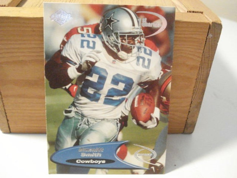 Emmitt Smith Cowboys Running Back Cowboys Card Dallas Cowboys Football Card Hall Of Fame Nfl Card Sports Card Dallas Nfl Quarter