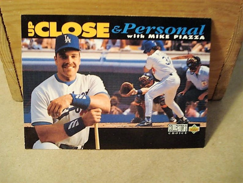 Mike Piazza Baseball Card Sports Card Mlb Card Hall Of Fame Dodgers Catcher Up Close Piazza Card Gift Fathers Day Dodger Card