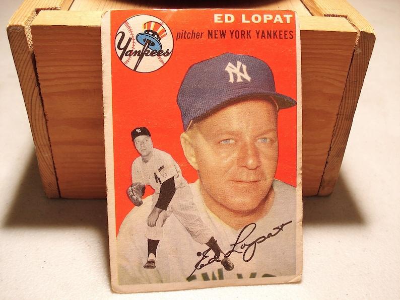 Ed Lopat New York Yankees Baseball Card Jim Lopat Card Mlb Card Baseball 1954 Yankees Yankees Card Topps Baseball Yankeesgift Idea