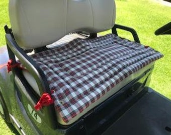 Red Sevenberry Plaid Twill Golf Cart Seat Cover a Fashionable, Functional Accessory to Any Golf Cart,  and a Terrific Gift