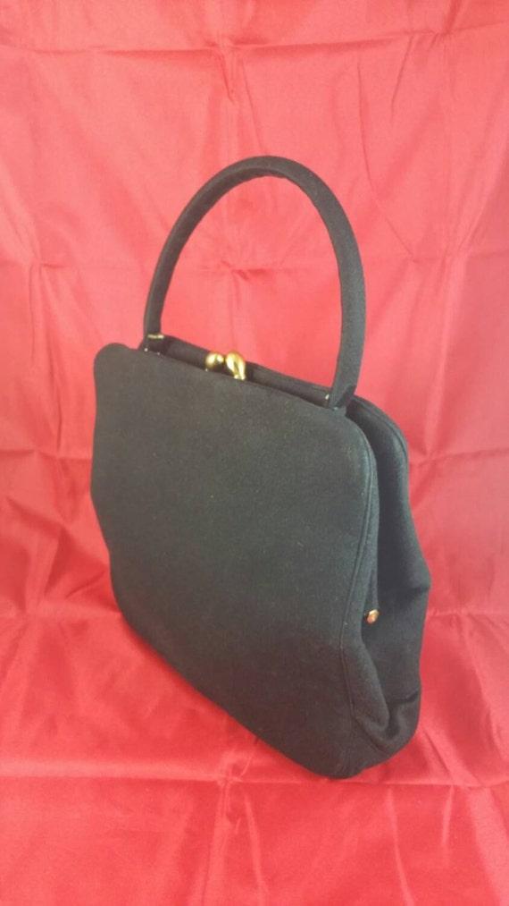 Fantastic Black Felt Bag Signed Koret