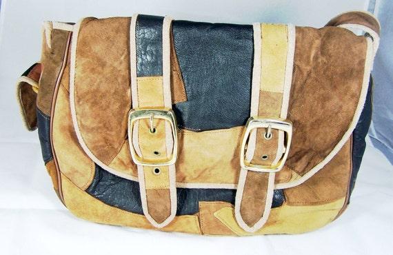 Vintage Patchwork Leather Bag Unsigned