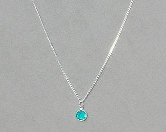 December Birthstone- Blue Zircon Drop Necklace