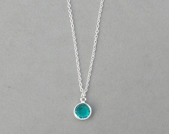 8 mm December Birthstone- Blue Zircon Drop Necklace Gold or Silver plated