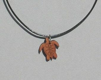 Wood Sea Turtle Necklace