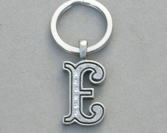Rhinestone Initial E Key ring