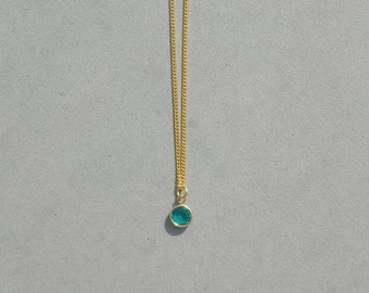 December Birthstone- Blue Zircon Gold Plated Drop Necklace