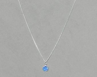 September Birthstone- Sapphire Drop Necklace