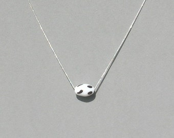 Cow Print Glass Bead Necklace
