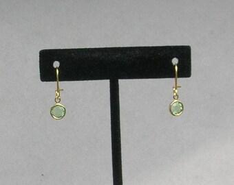 August Birthstone- Peridot Drop GP Earrings