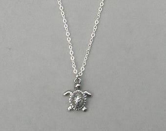 Rhodium Sea Turtle Necklace