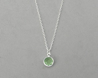 8 mm August Birthstone- Peridot Drop Necklace Gold or Silver plated