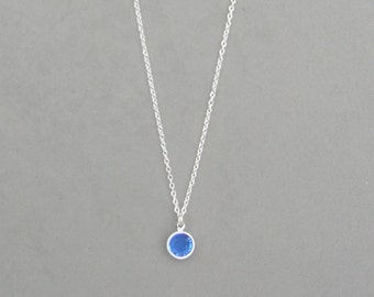 8 mm September Birthstone- Sapphire Drop Necklace Gold or Silver plated