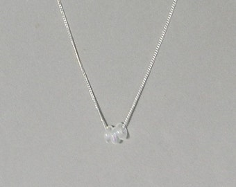 White Iridescent Glass Donuts Necklace