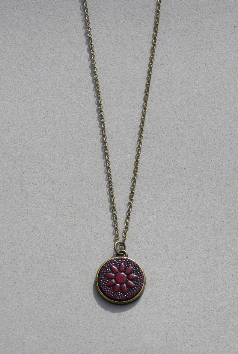 Flower Embossed Leather Necklace