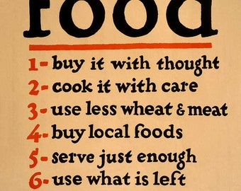 """Vintage Reproduction WWI Era Poster  """"Food-Don't Waste it"""" - 11 x 14 c1917"""