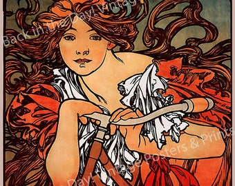 "Mucha, Art Nouveau, Vintage Reproduction Advertising Poster ""Cycles Perfecta"" by Alphonse Mucha c1897"