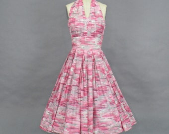 Vintage 50s Cotton Novelty Print Halter Dress, 1950s Sundress, L'Aiglon Pink and Gray Full Skirted Summer Dress, XS