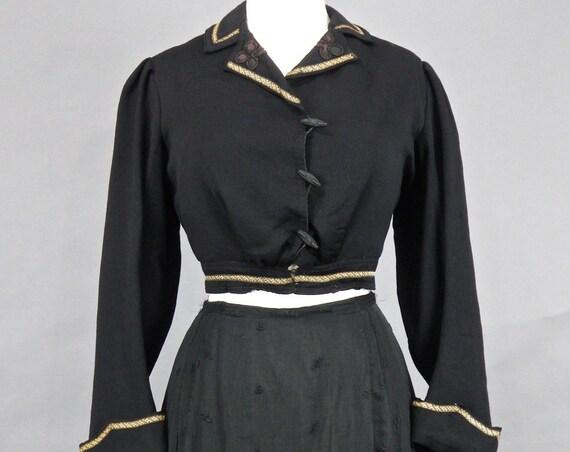 Antique Edwardian Cropped Wool Gabardine Jacket, 1900s 1910s Blazer Top Jacket, Black Wool Steampunk Jacket