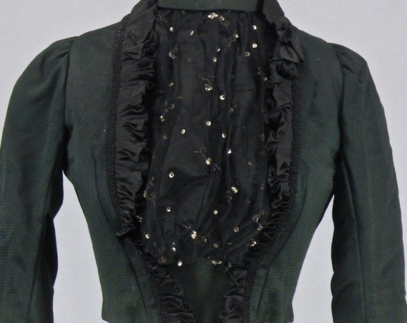 Victorian Bodice, Antique 1890s Top, Embellished Dark Green Silk & Net Steampunk Bodice Jacket