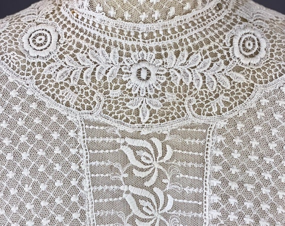 Edwardian Embroidered Net Crochet Lace Antique 1900s Blouse, XS - S