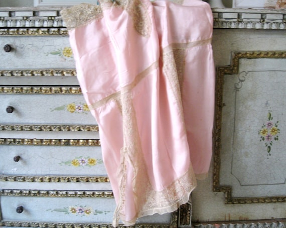 1920s Step In Lingerie, Vintage 20s Pink Silk and Lace Romper Nightie Teddy Flapper Lingerie, Large