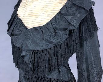 Edwardian Dress, 1900s Black Fringed Silk Dress, Historical Antique Dress, Medium - M/L