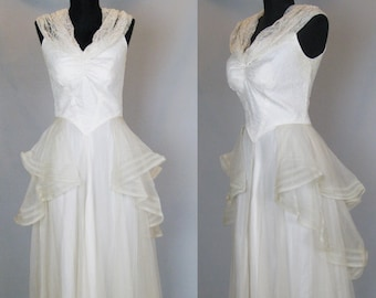 1930s Wedding Dress Vintage 30s Dress 30s Bridal Gown Net Lace & Satin