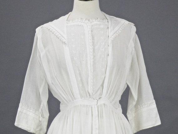 Antique 1910s Edwardian White Cotton Embroidered Dress, Medium